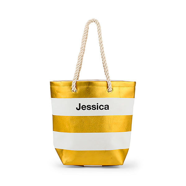 Metallic gold and white bliss tote bag, may be personalized