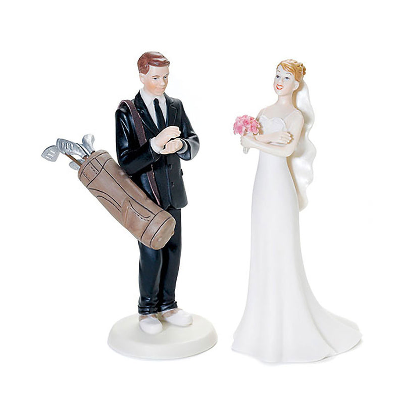 Golf groom and bride cake toppers caucasian