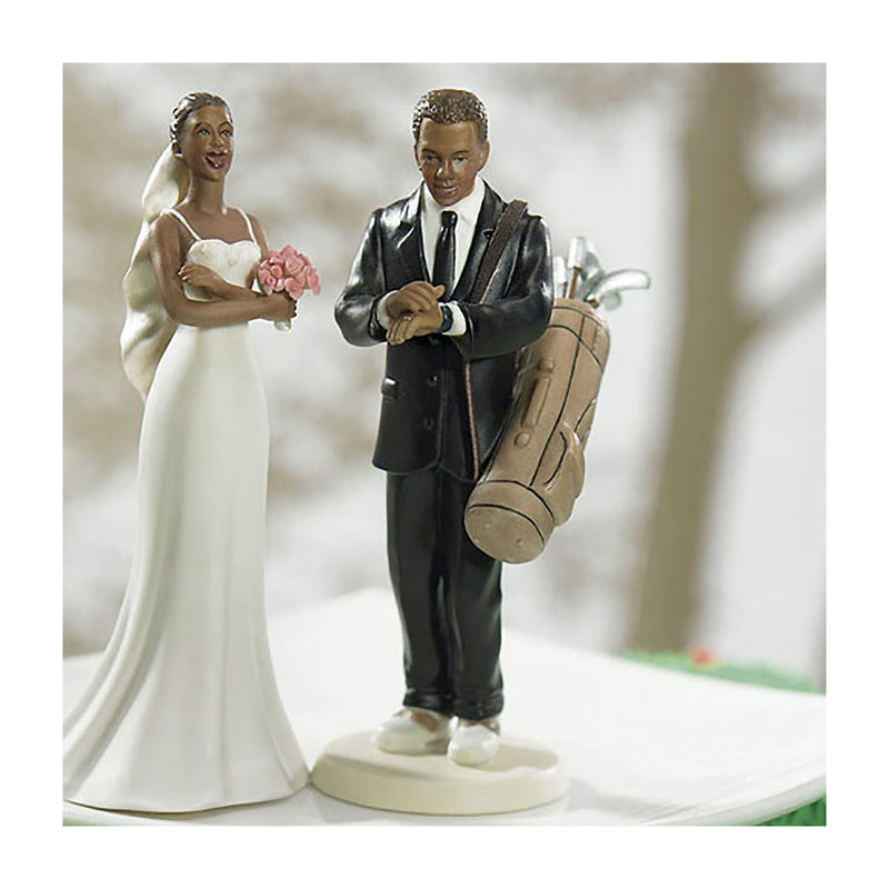 Golf groom and bride cake toppers ethnic