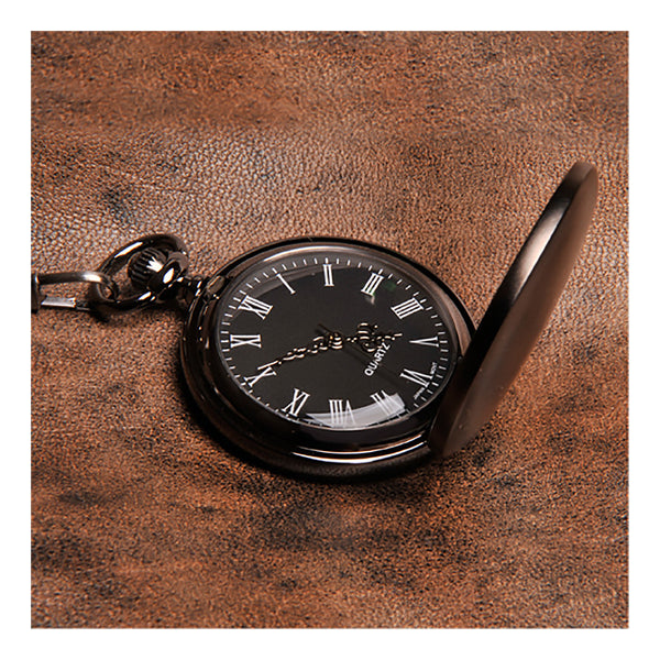 Gunmetal pocket watch close up