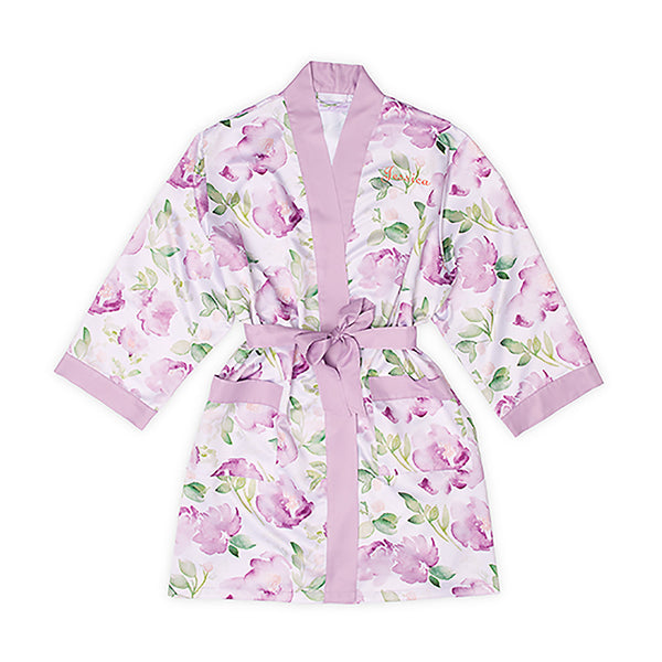 Lavender floral bridesmaid robe