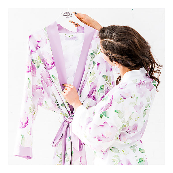 Lavender floral bridesmaid robe close up