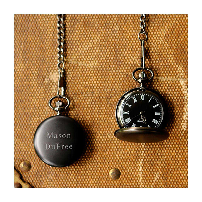 Midnight black pocket watch