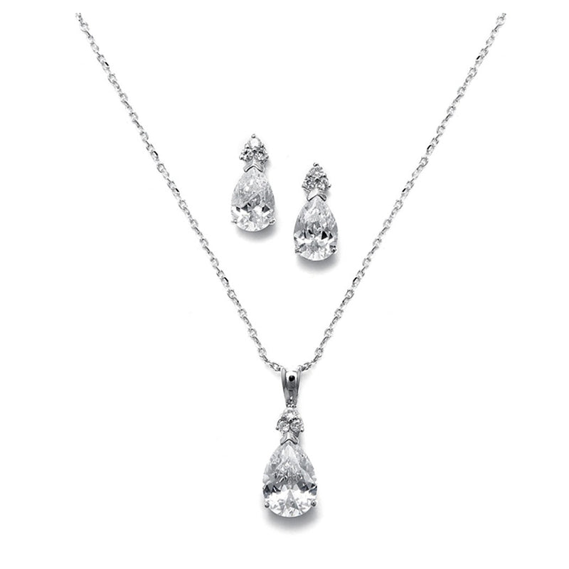 Brilliant pear solitaire necklace and earring set