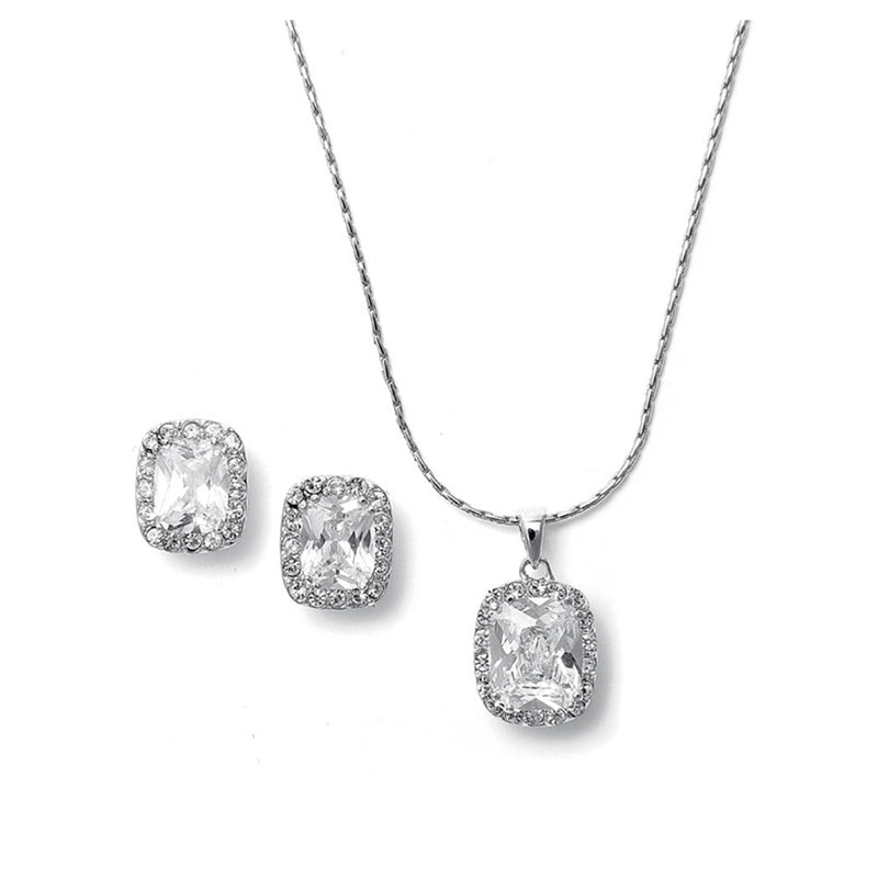 CZ square cut necklace & earring set for the bride or bridesmaids