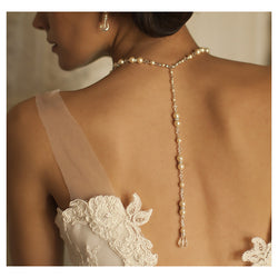 Pearl and crystal bridal back necklace
