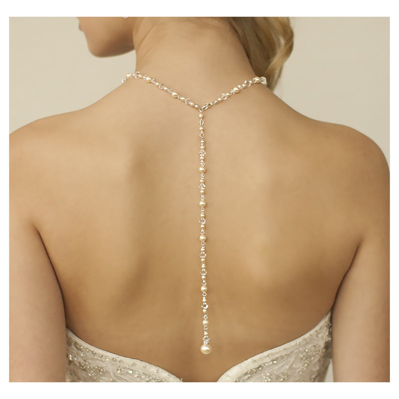 Pearl back necklace in silver or gold with ivory or white pearls