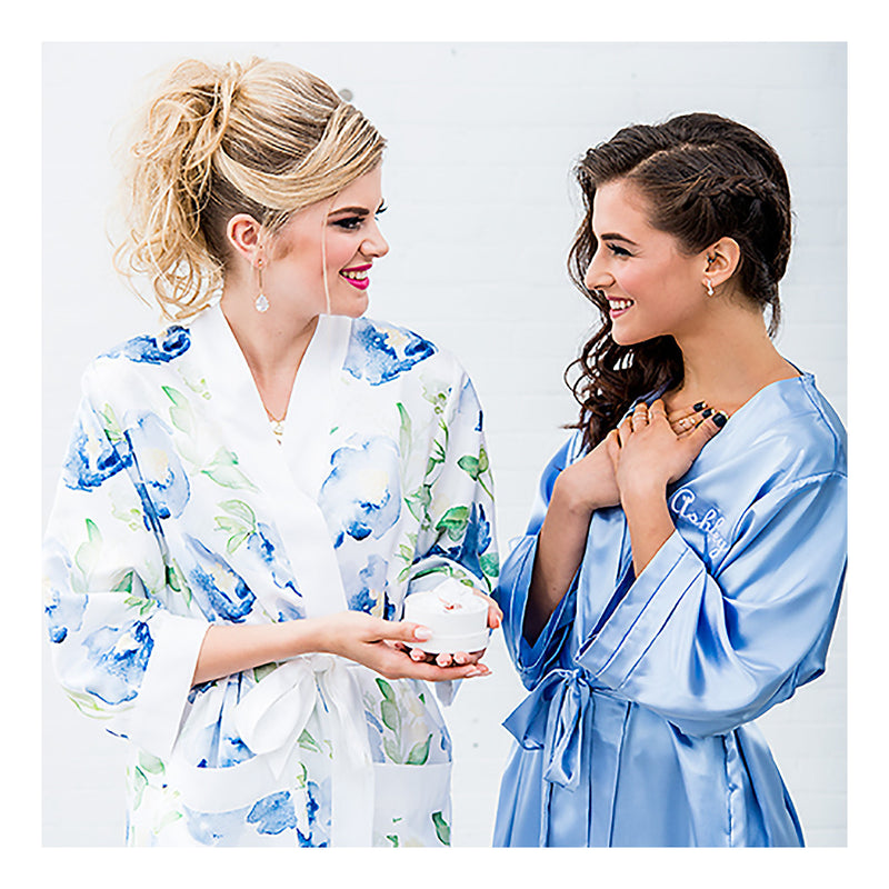 Blue and periwinkle bridesmaids robes