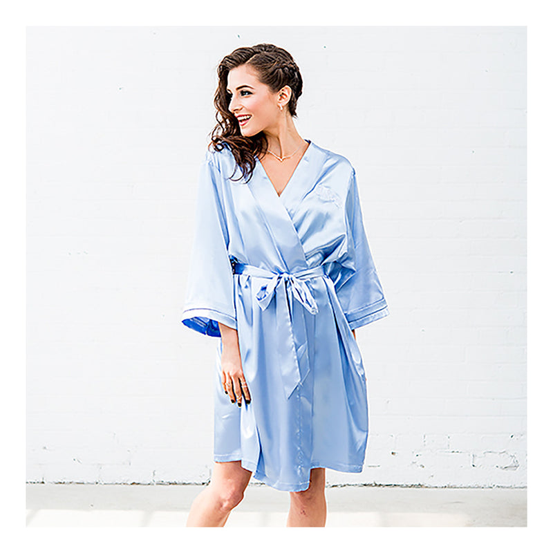 Periwinkle blue kimono robes on model
