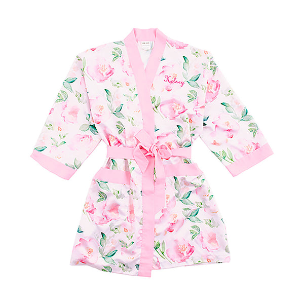 Pink watercolor kimono robe with pink trim