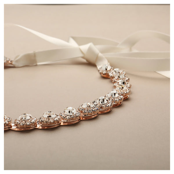 Rose gold Preciosa crystal flower headband