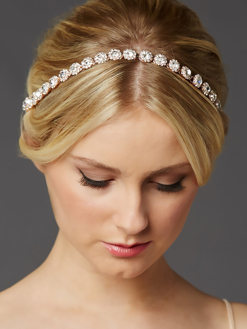 Rose Gold Bridal Headband with Crystal Flowers, Kristen