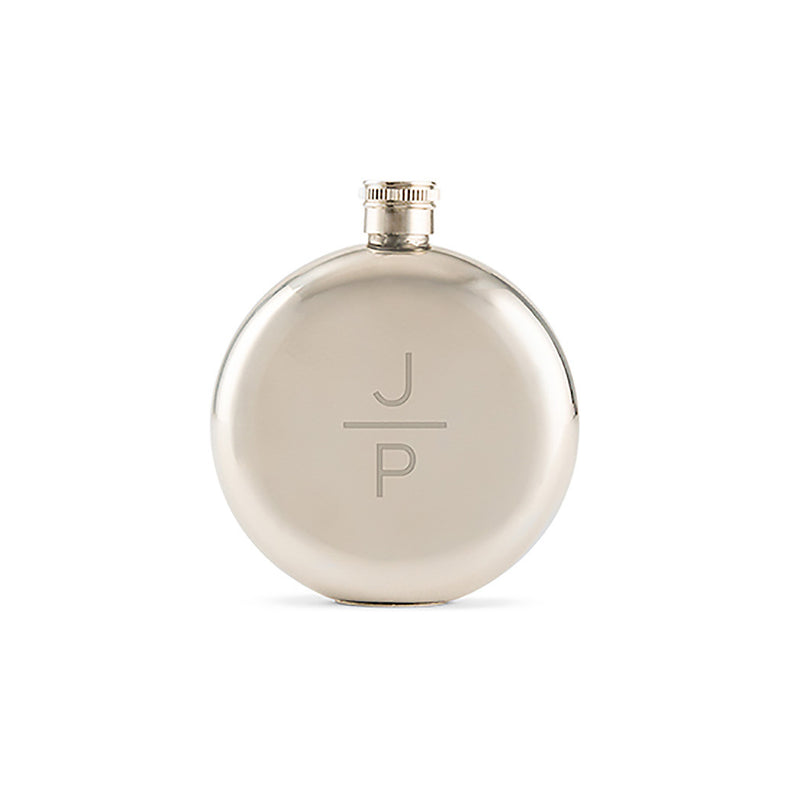Round stainless steel flask with etched monogram