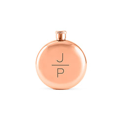 Round rose gold flask with monogram