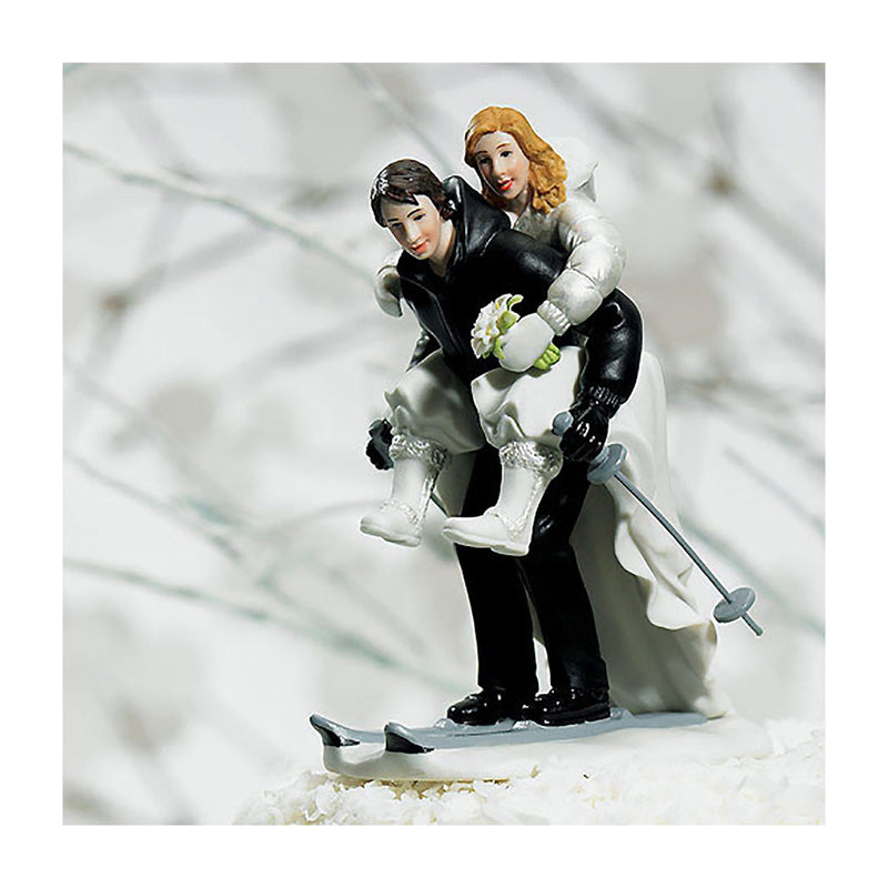 Skiing bride and groom cake topper