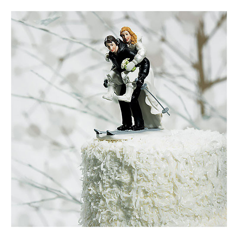 Skiing couple cake topper