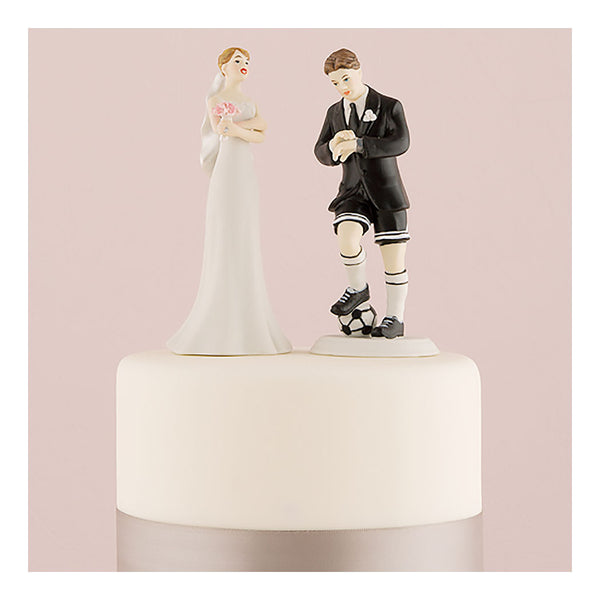 Soccer groom and bride cake toppers