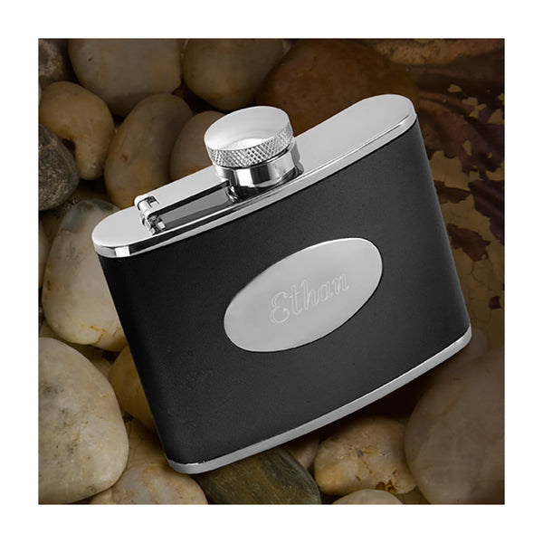 Stainless steel flask with black leather sleeve personalized