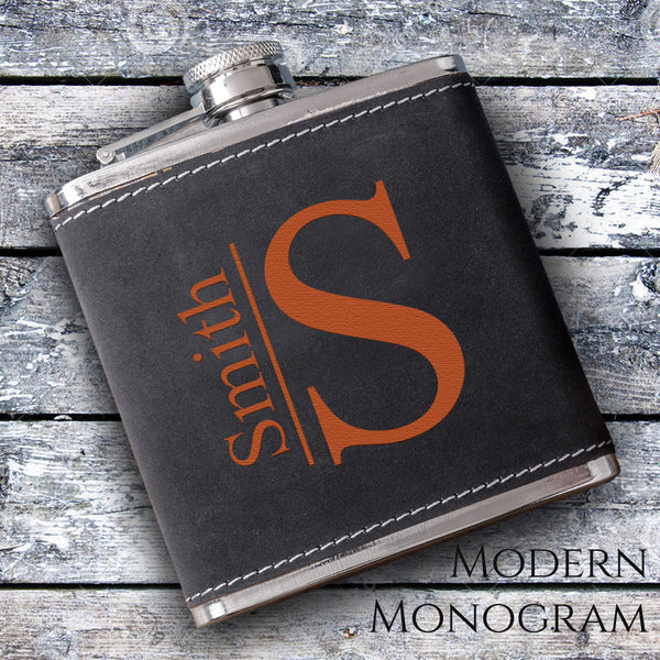 Suede flask with modern monogram