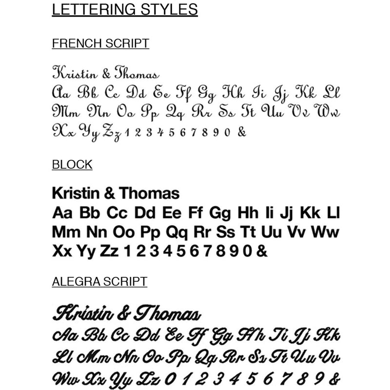 Font styles for bridesmaid robes