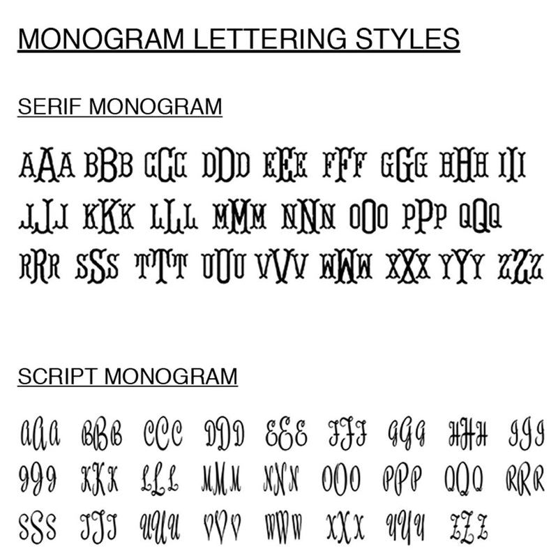 Monogram styles for embroidery on robes