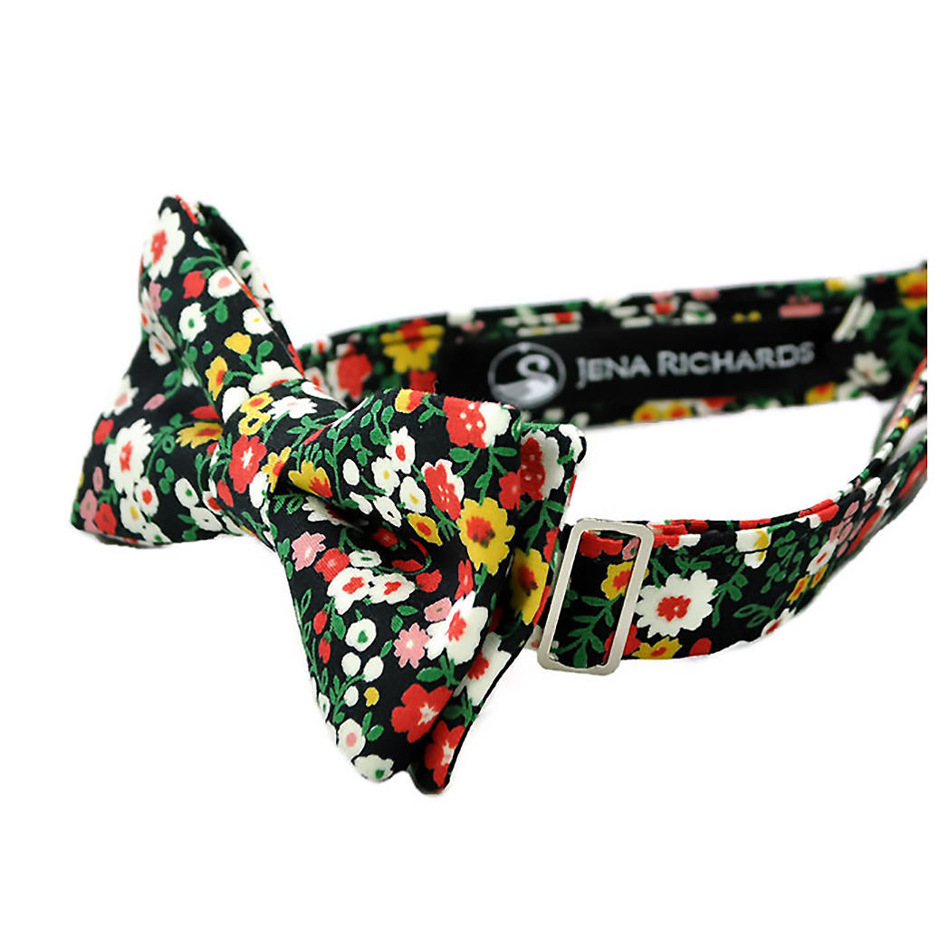 396d0a2bd3720 Black Floral Bow Tie for Boys and Men