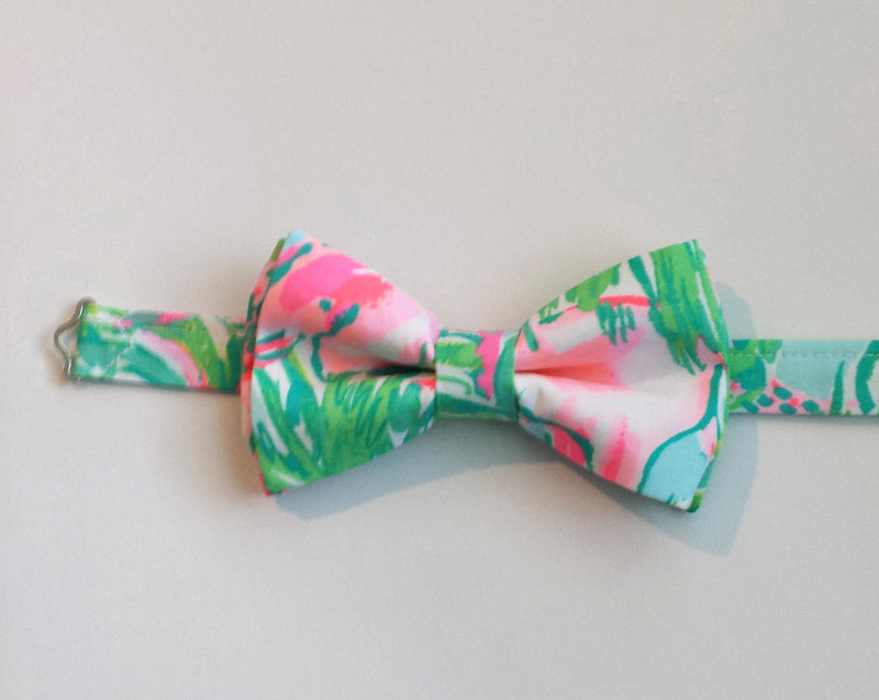 Green and Pink Animal Print Bow Tie for Boys, Babies and Men