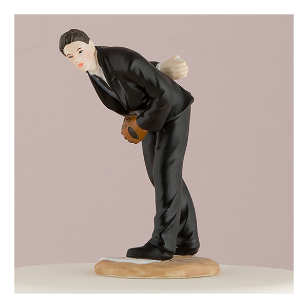 Groom pitching baseball cake topper