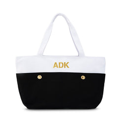 Black Canvas Color Block Tote Bag with Monogram