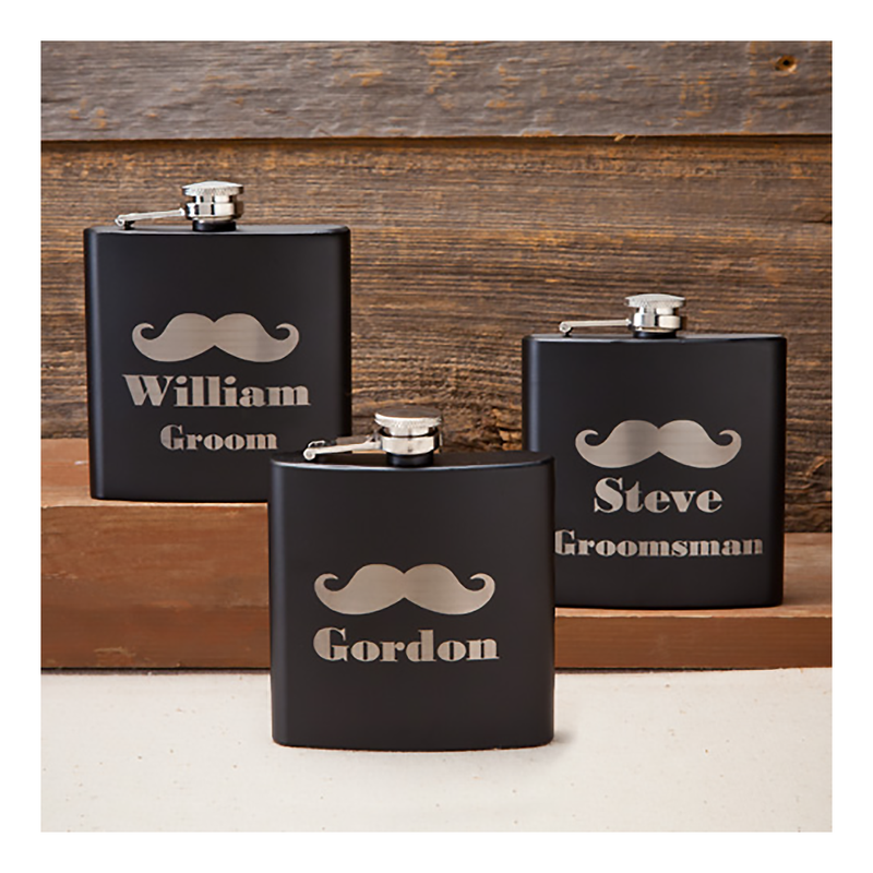 Mustache flask in black matte personalized