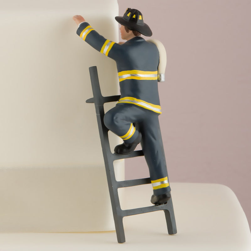 Wedding Cake Topper Hand Painted Porcelain Fireman Groom