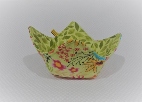 Microwavable Fabric Bowl - Light Green - Sunflowers
