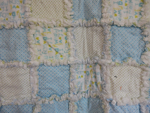 Rag Quilt-Blue Love Mommy