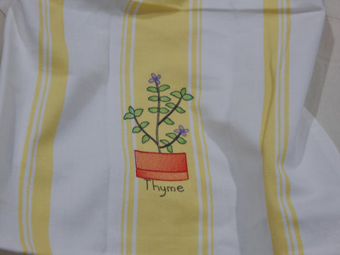 Embroidered Kitchen Towel-Thyme