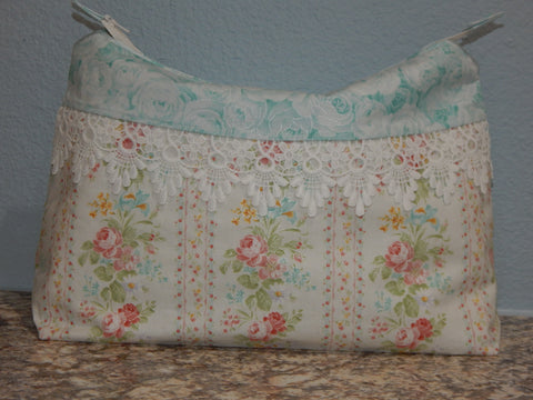 Cosmetic Bag-Large Blue Floral