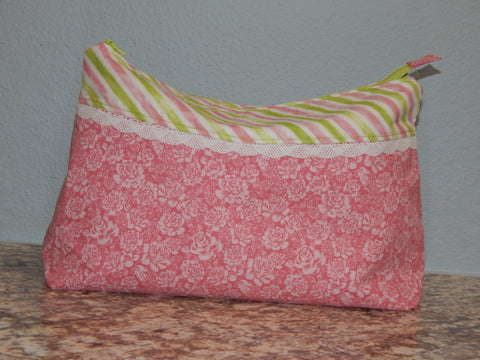 Cosmetic Bag-Large Pink Stripes