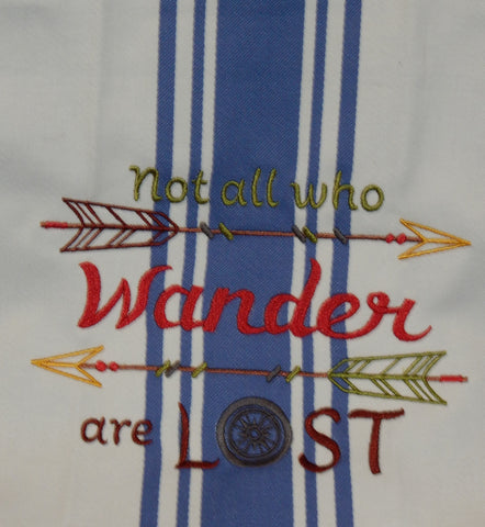 Embroidered Kitchen Towel Wander Blue/Wine