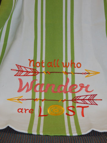 Embroidered Kitchen Towel Wander Green Coral