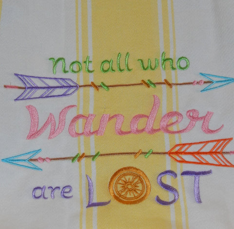 Embroidered Kitchen Towel Wander Yellow
