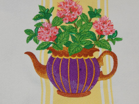 Embroidered Kitchen Towel Tea Pot Yellow