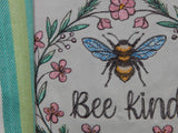 Embroidered Kitchen Towel Bee Kind Pink