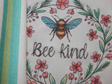 Embroidered Kitchen Towel-Be Kind Teal