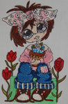 Embroidered Kitchen Towel-Brown Eyed Girl