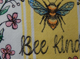Embroidered Kitchen Towel-Be Kind Yellow
