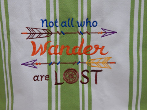 Embroidered Kitchen Towel Wander Green