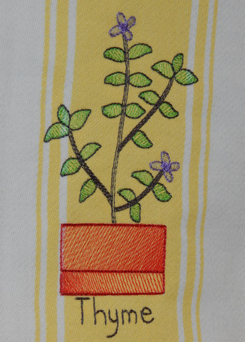 Embroidered Kitchen Towel Thyme Yellow