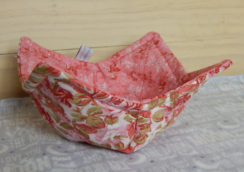 Microwaveable Fabric Bowl-Pink Roses