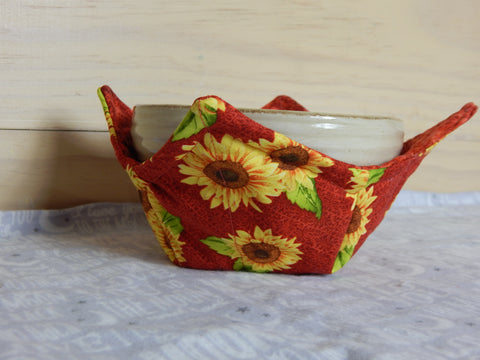 Microwavable Fabric Bowl-Sunflowers-Red