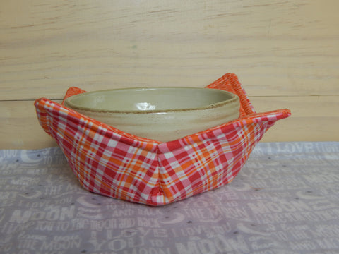 Microwavable Fabric Bowl-Orange Plaid