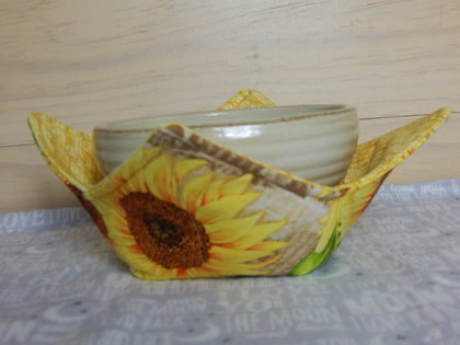Microwavable Fabric Bowl-Medium-Sunflowers Yellow/Gold